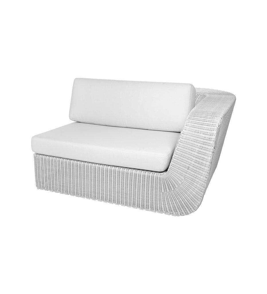 Cane-line Savannah 2 Seater Outdoor Sofa - Left in White Grey All-Weather Weave with White Cushions 5541W YS94