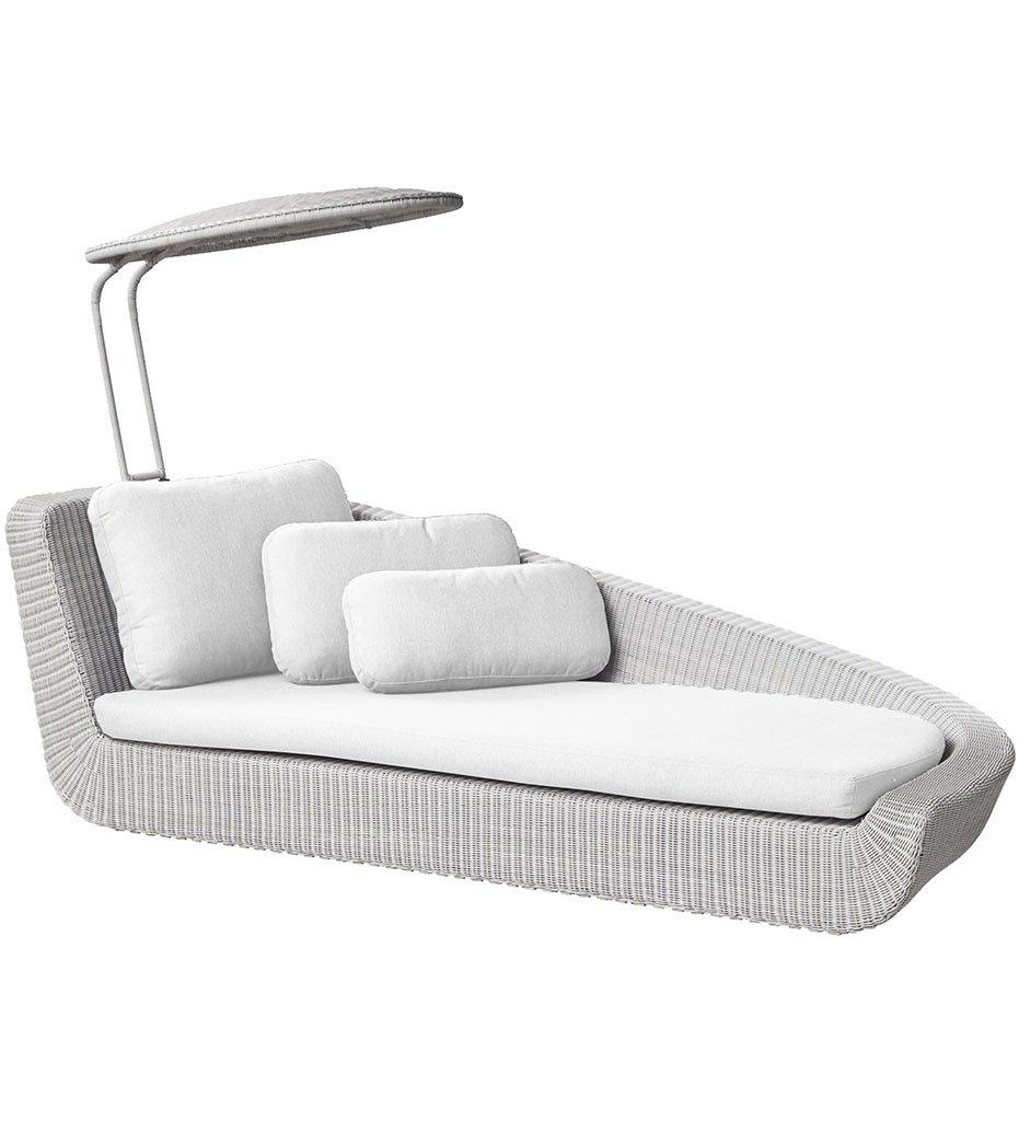 Cane-line Savannah Daybed Left White Grey Weave with White Cushions 5542W YS94