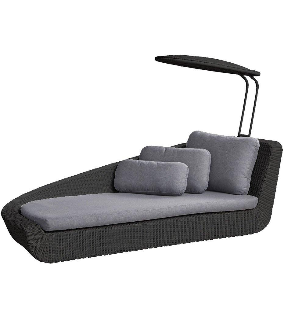 Cane-line Savannah Daybed Left Black Weave with Grey Cushions 5543S YS95