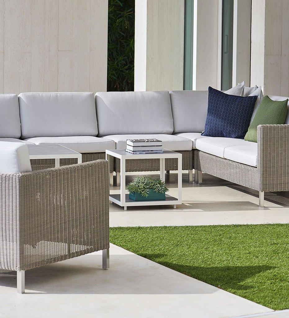 Cane-line Connect 2-Seater Outdoor Sectional Sofa - Right in Taupe All Weather Weave with White Cushions 5594T YS94