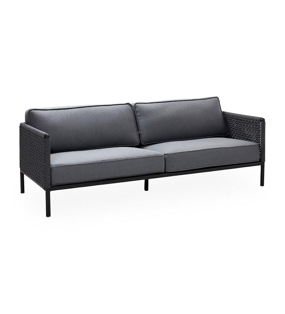 Cane-Line Encore 3 Seater Outdoor Sofa in Lava Grey Frame with Dark Grey Soft Rope 5570ALAIG