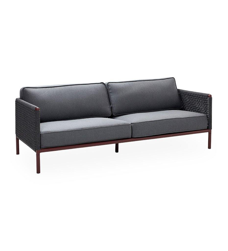 Cane-Line Encore 3 Seater Outdoor Sofa in Bordeaux Frame with Dark Grey Soft Rope 5570BRAIG