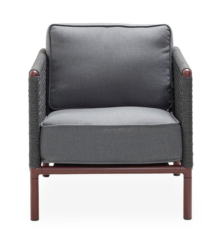 Cane-Line Encore Outdoor Lounge Chair in Bordeaux Dark Grey Frame with Dark Grey Soft Rope 5470BRAIG