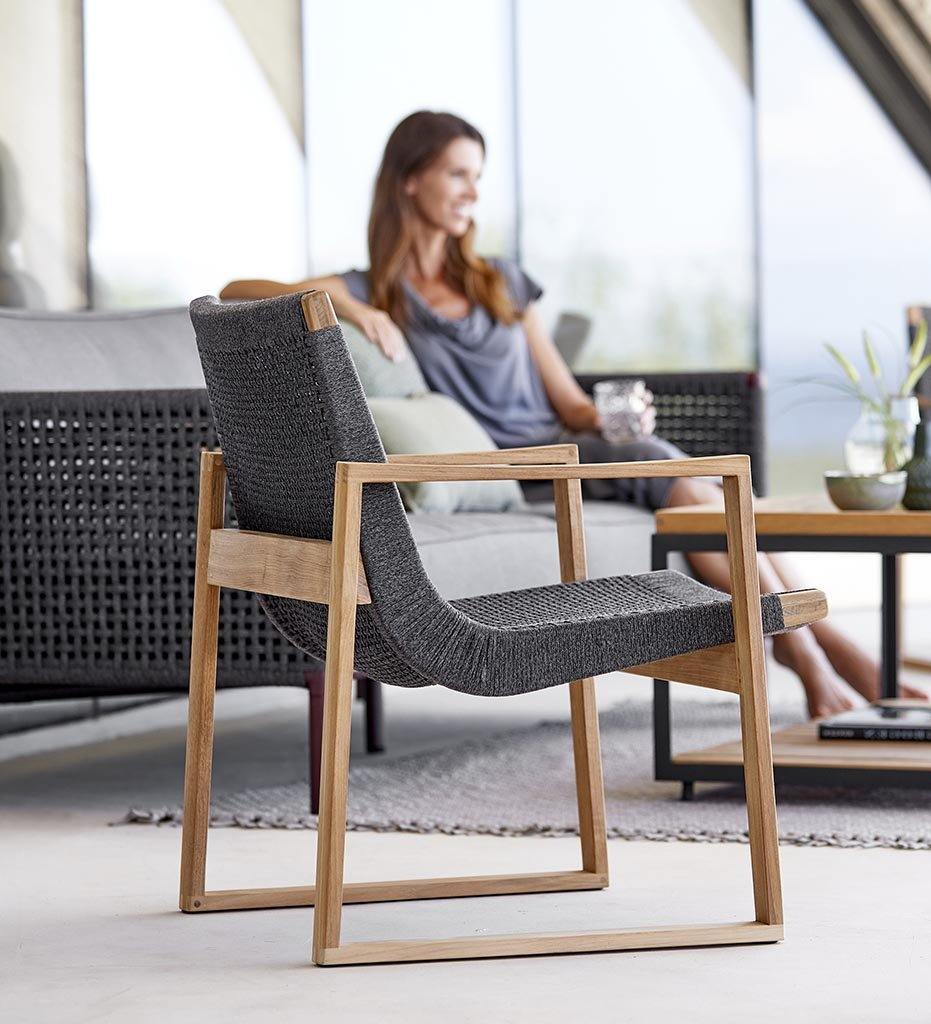 Cane-line Endless Outdoor Dining Arm Chair in Teak and Dark Grey Rope 54501RODGT