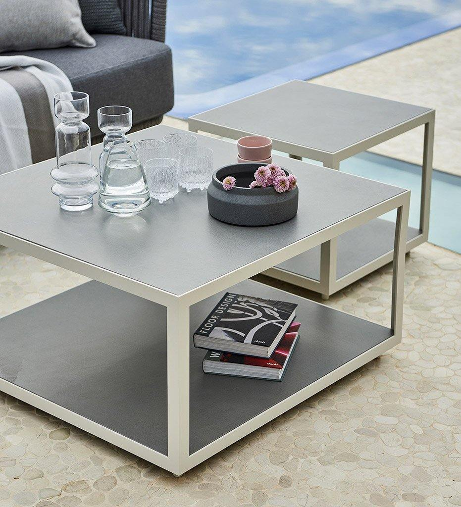 Cane-Line Level Coffee Table-Square-Large-Ceramic-White