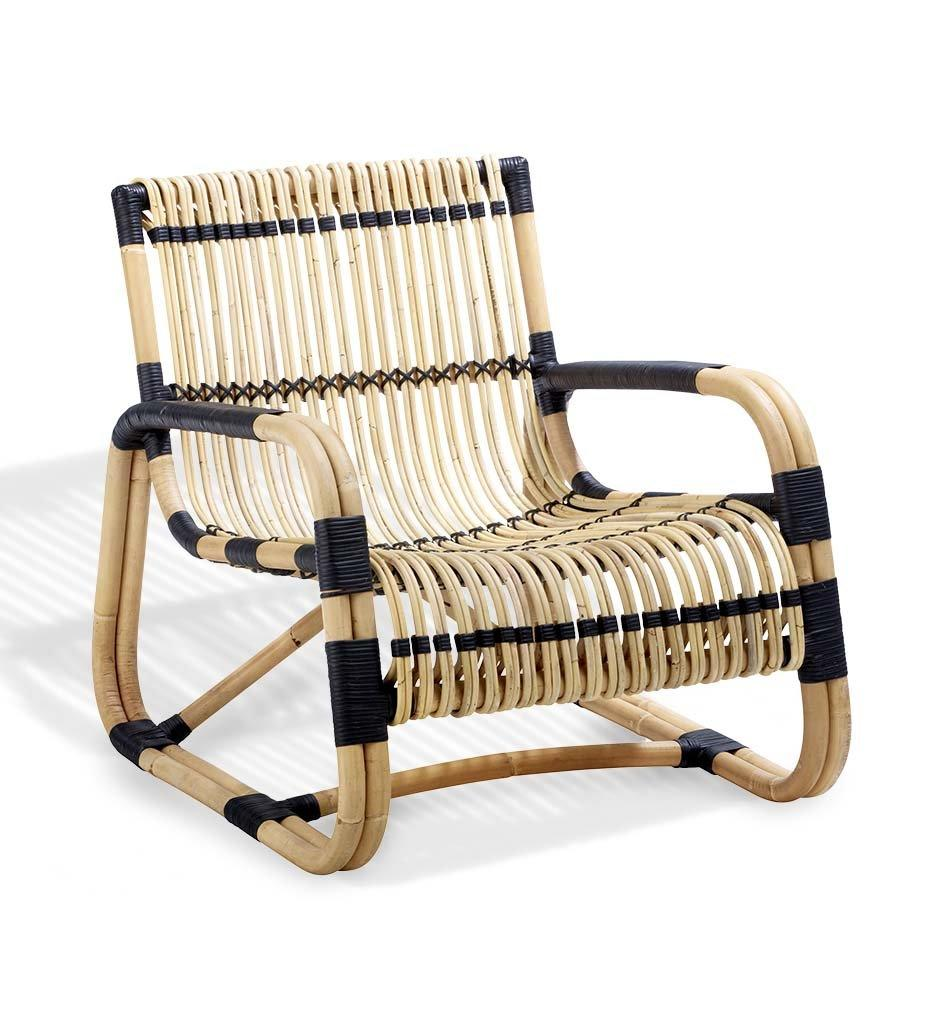 Cane-line Curve Lounge Chair Indoor Natural Rattan with Black Bindings 7402RUS