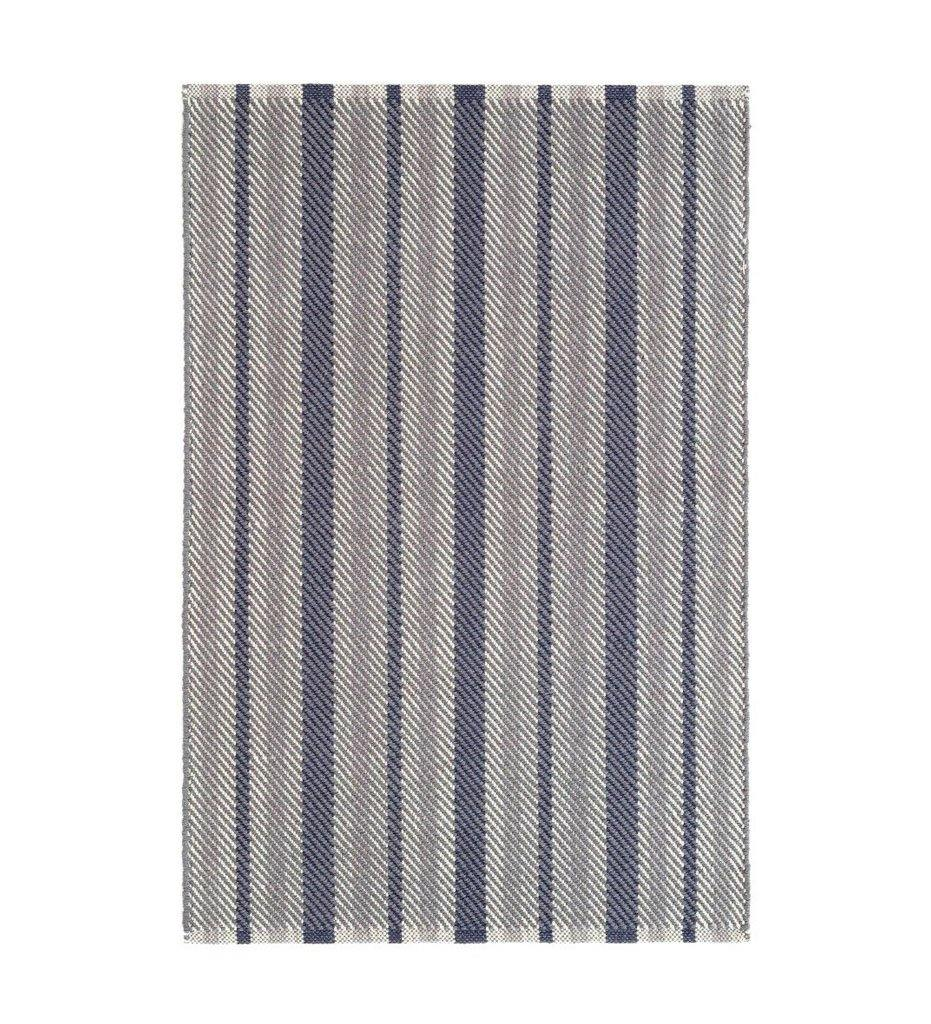 Dash and Albert Herringbone Stripe Navy Woven Cotton Rug