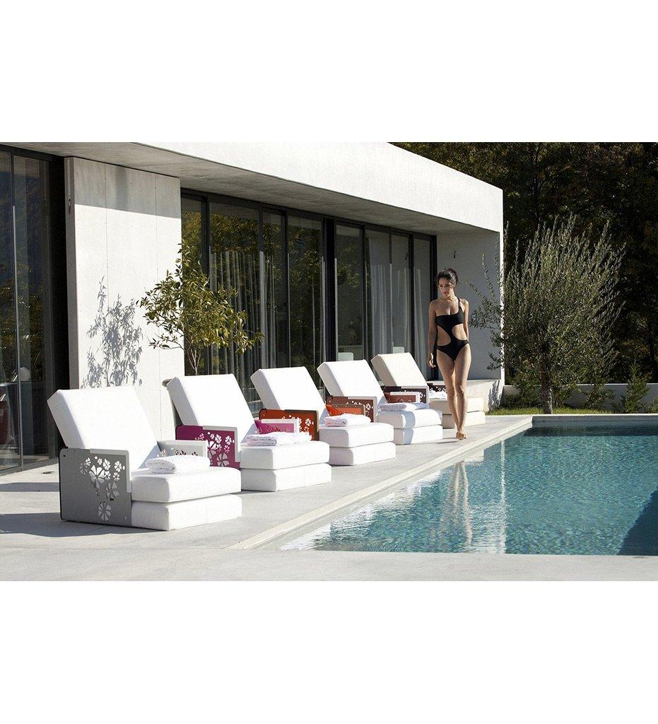 lifestyle, EGO Paris Kube Lounge Chair/Chaise - Flowers/Teak