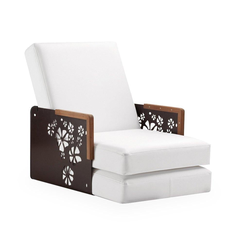 EGO Paris Kube Lounge Chair/Chaise - Flowers/Teak