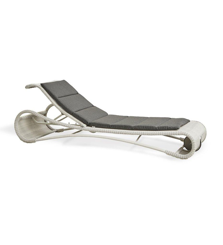 Cane-line Escape Outdoor White Grey All-Weather Weave Sunbed Chaise 5523LW with Black Cushion YSN98