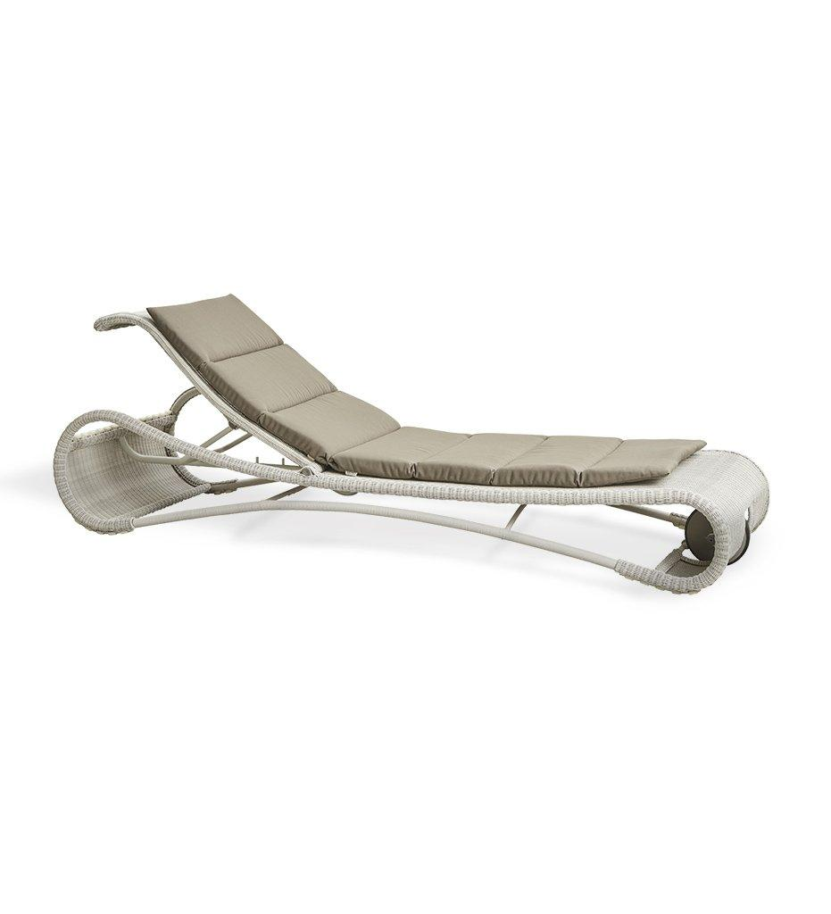 Cane-line Escape Outdoor White Grey All-Weather Weave Sunbed Chaise 5523LW with Taupe Cushion YSN97
