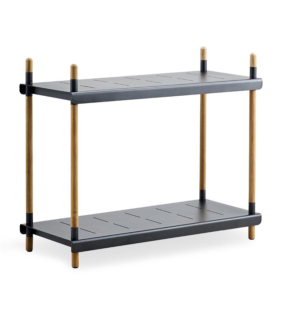 Cane-line Flex High Shelving with Teak Frame and Lava Grey Aluminum Shelves 5790TAL