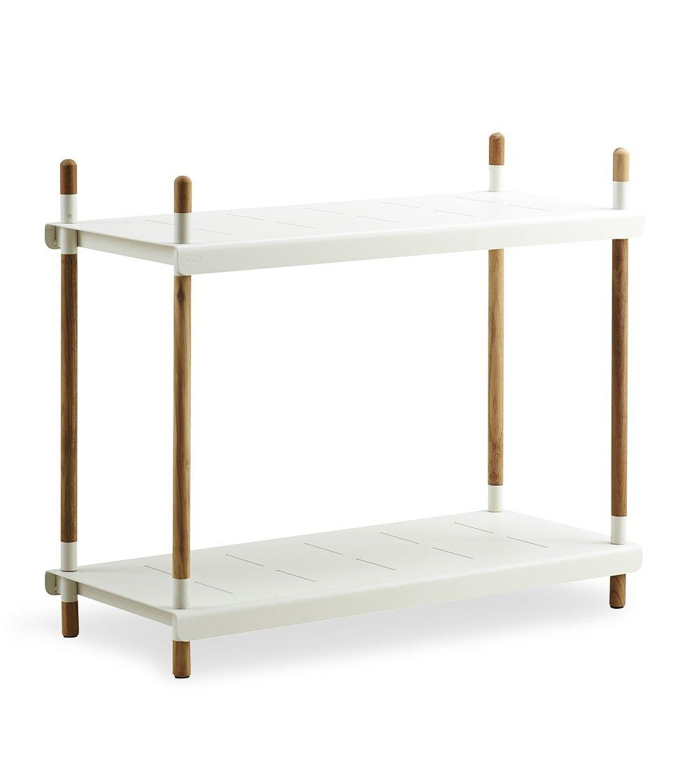 Cane-line Flex High Shelving with Teak Frame and White Aluminum Shelves 5790TAW