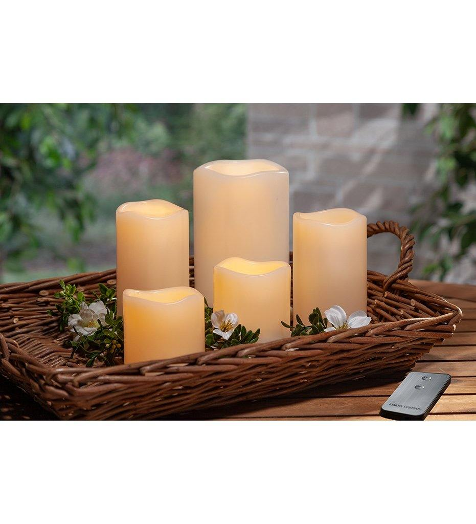 Gerson Gerson Outdoor LED Bisque Candles (Set of 5)