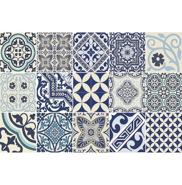 Kiss That Frog Beija Flor Blue Eclectic Tile Vinyl Placemat - Set of 4