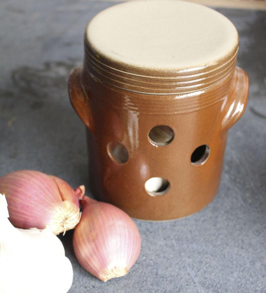 Kiss That Frog Poterie Renault  Vintage French Brown Glazed Stoneware Onion, Garlic, Potato Storage Pot