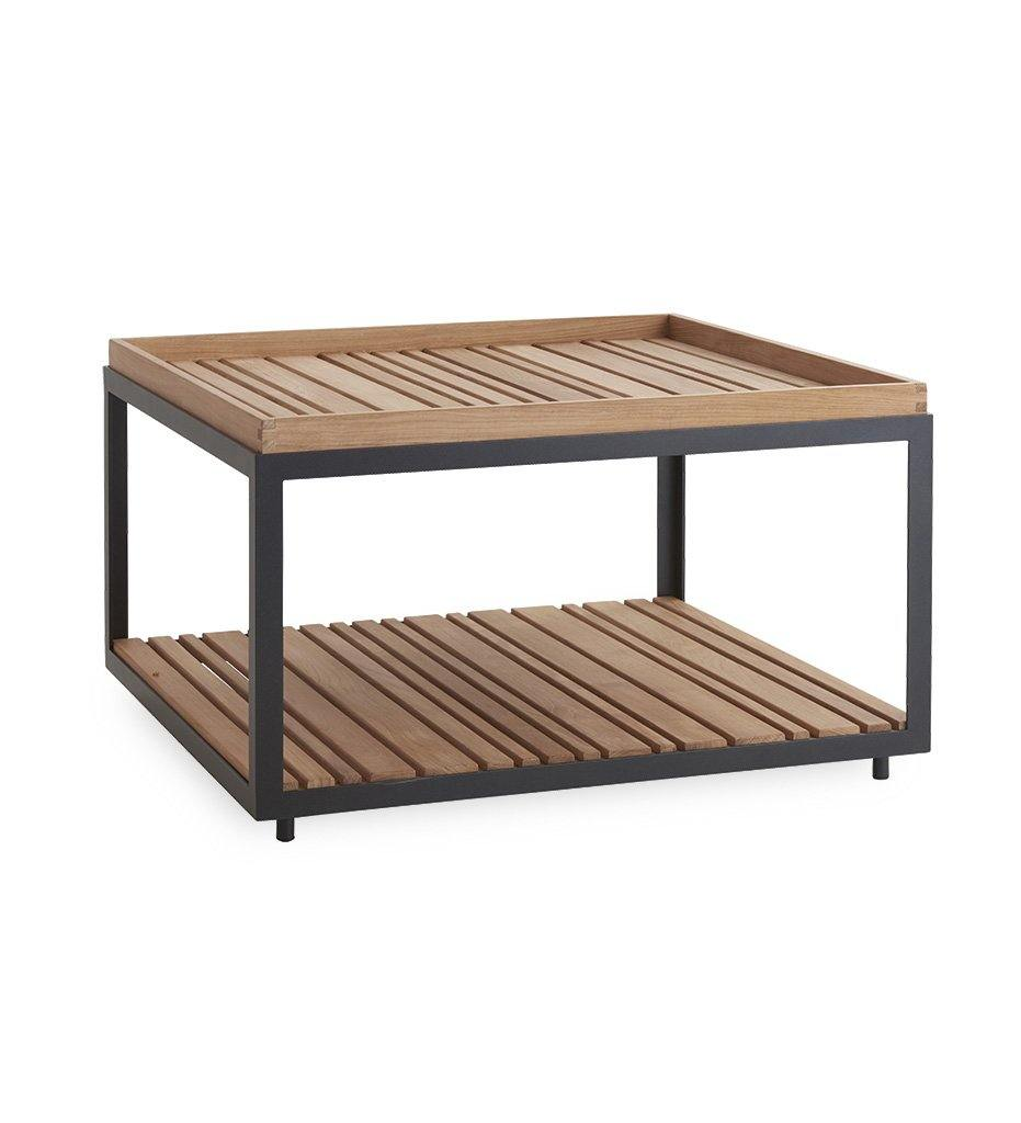 Cane-line Level Outdoor Square Coffee Table with Lava Grey Aluminum and Teak  5008ALT