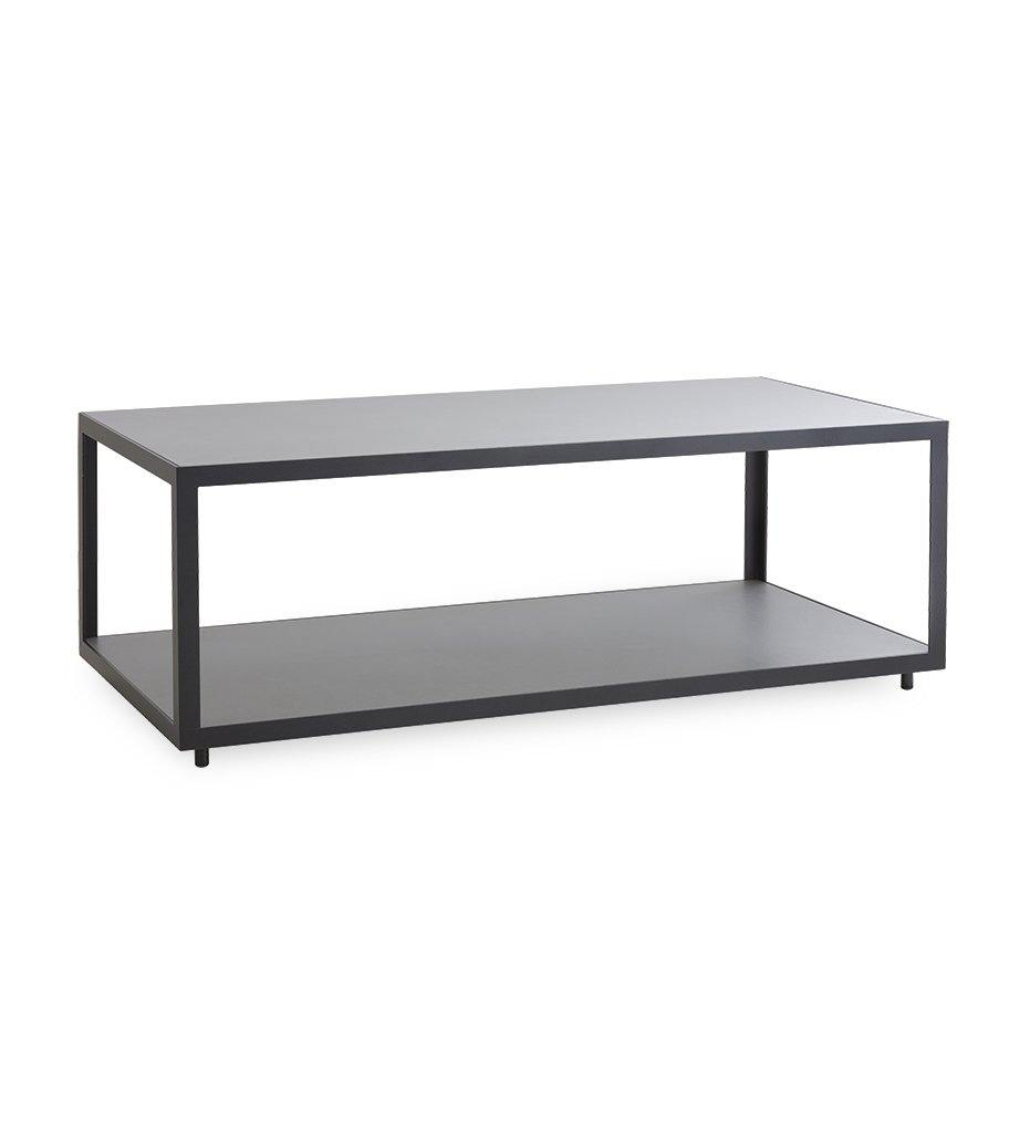 Cane-line Level Outdoor Rectangular Coffee Table with White Aluminum and Light Grey Ceramic 5009AWTII