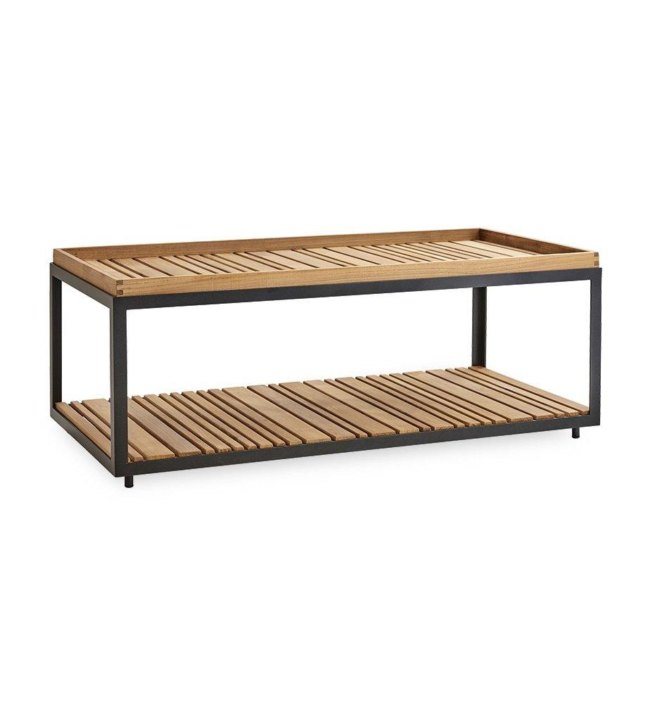 Cane-line Level Outdoor Rectangular Coffee Table with Lava Grey Aluminum and Teak 5009ALT