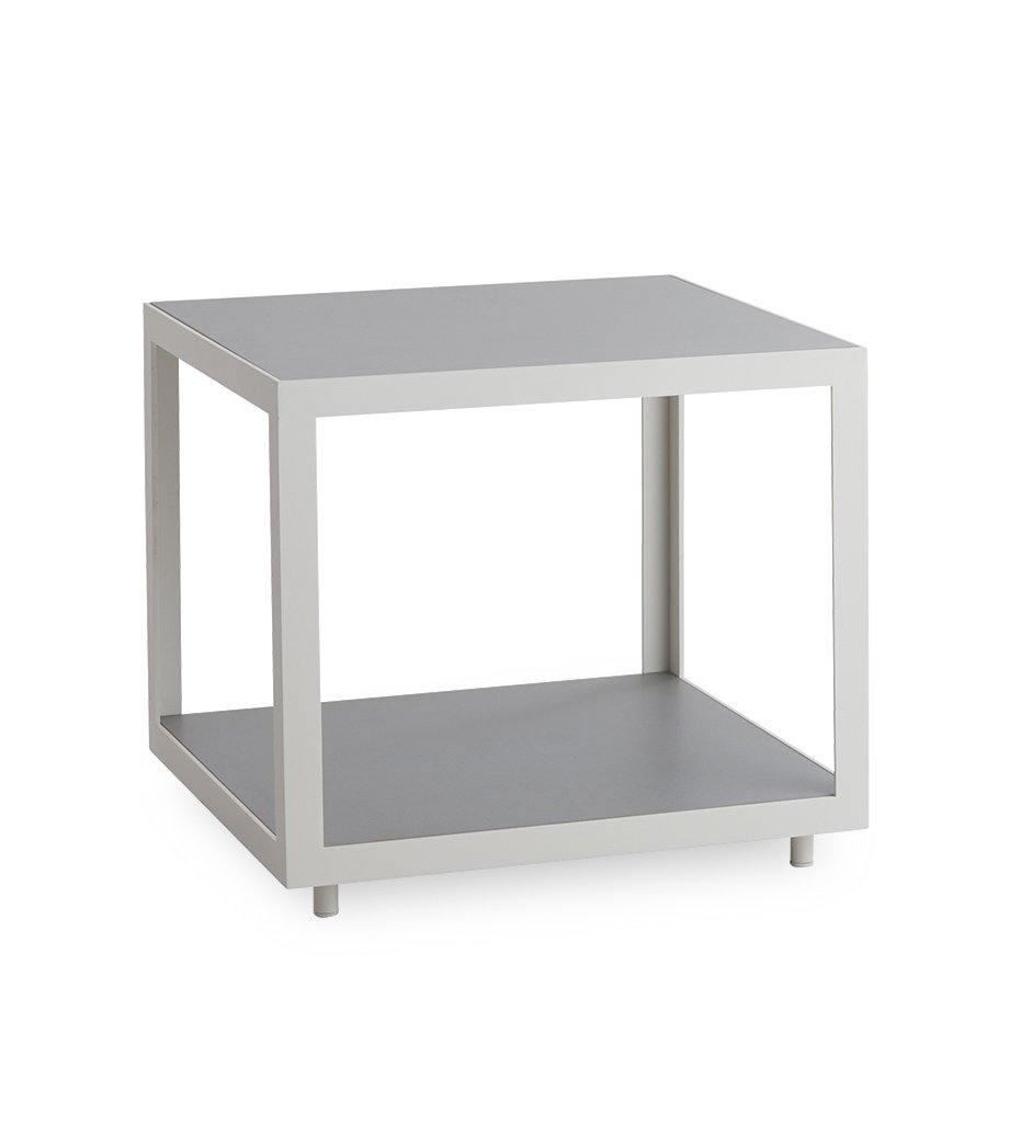 Cane-line Level Square Table with White Aluminum and Light Grey Ceramic 5007AWTII