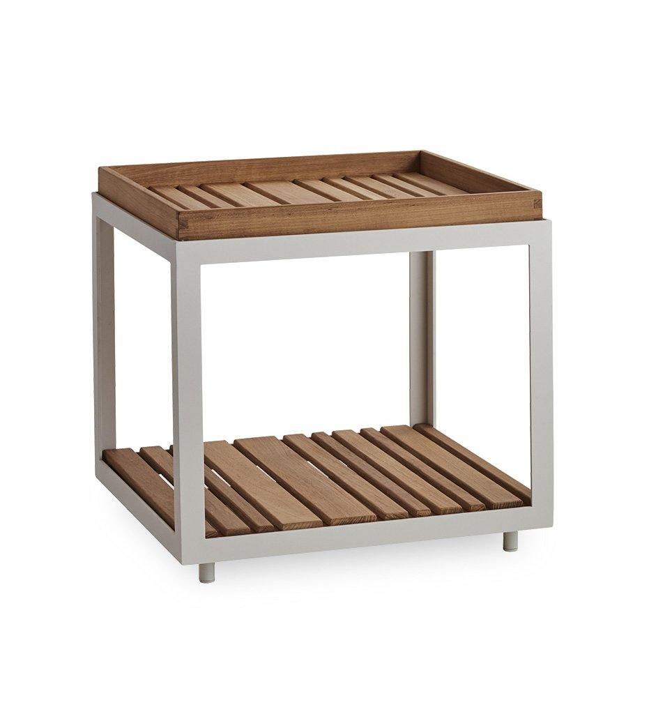 Cane-line Level Square Outdoor Table with White Aluminum and Teak 5007AWT