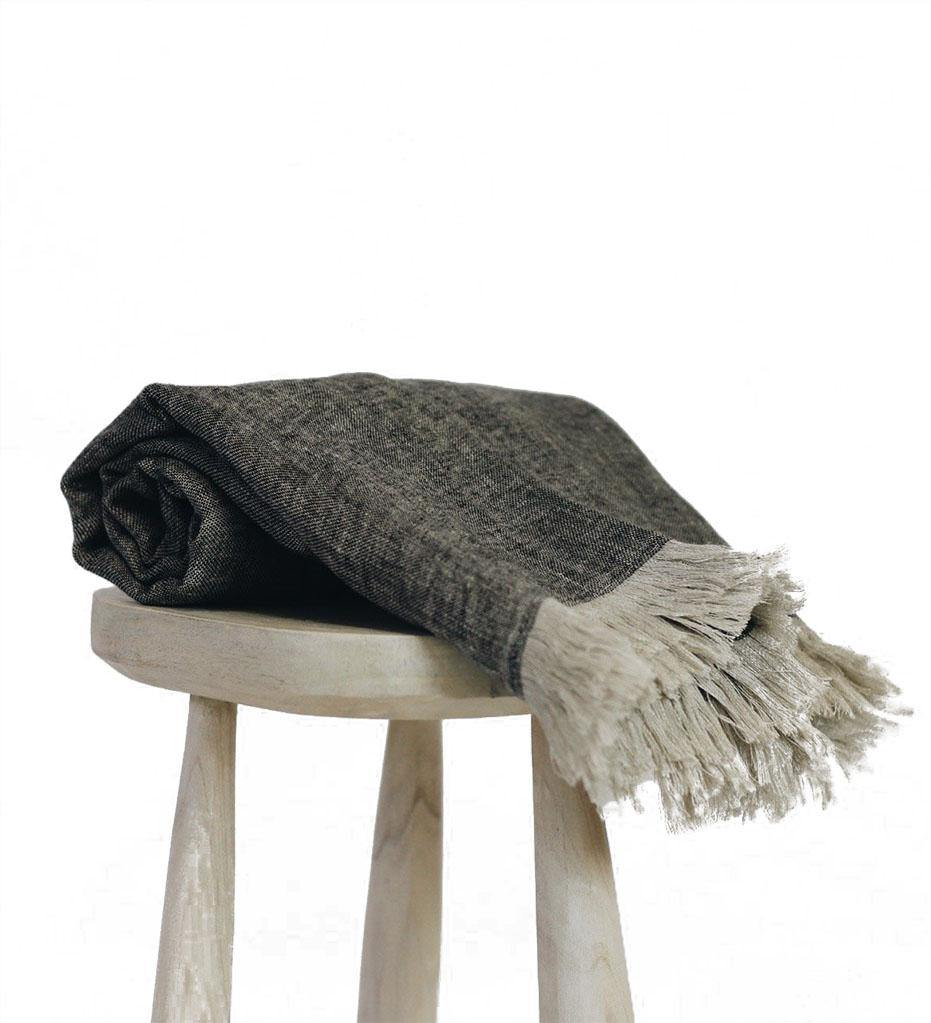 Mae Woven Yusuf Linen Throw - Charcoal