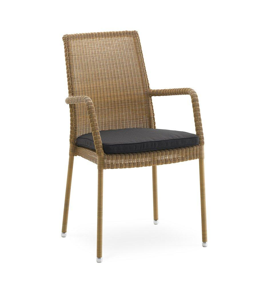 Cane-line Newman Outdoor Natural All-Weather Weave Dining Arm Chair 5434LU Black Cushion YSN98