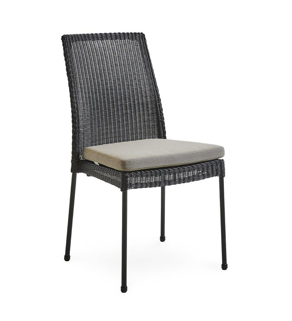 Cane-line Newport Outdoor Black All-Weather Weave Rattan Dining Chair 5432LS Taupe Cushion YSN97