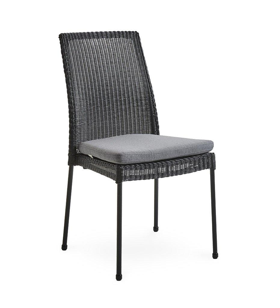Cane-line Newport Outdoor Black All-Weather Weave Rattan Dining Chair 5432LS Grey Cushion YSN95