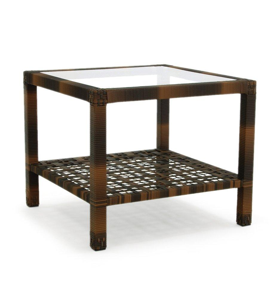 Oasiq Astor End Table Outdoor Anthracite powder coated aluminum and all-weather wicker frame with glass top