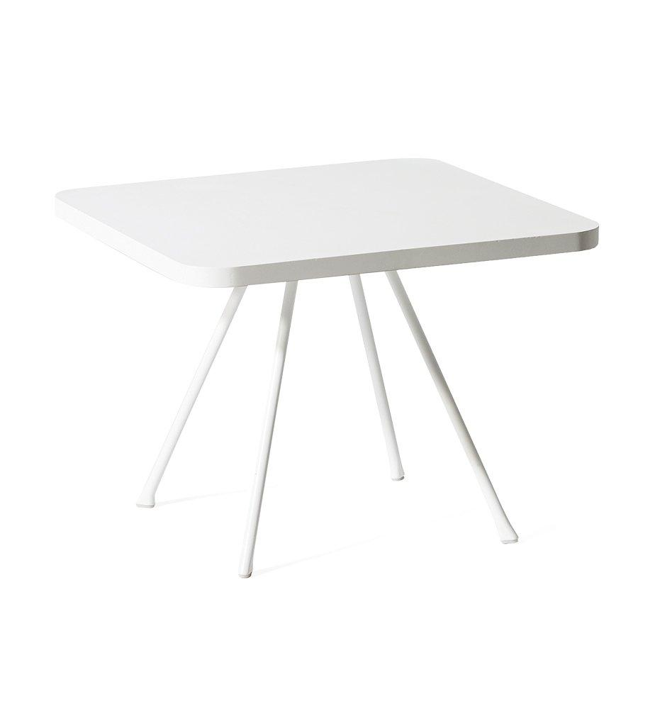 Oasiq Attol Aluminum Square Side Table Outdoor White Powder Coated Aluminum Framerame