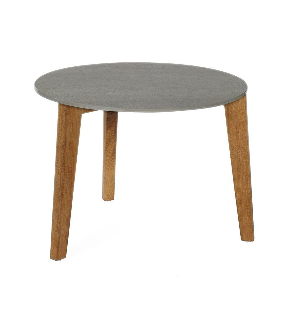 Oasiq Attol Medium Round Outdoor Side Table with Grey Ceramic Top and Teak Frame