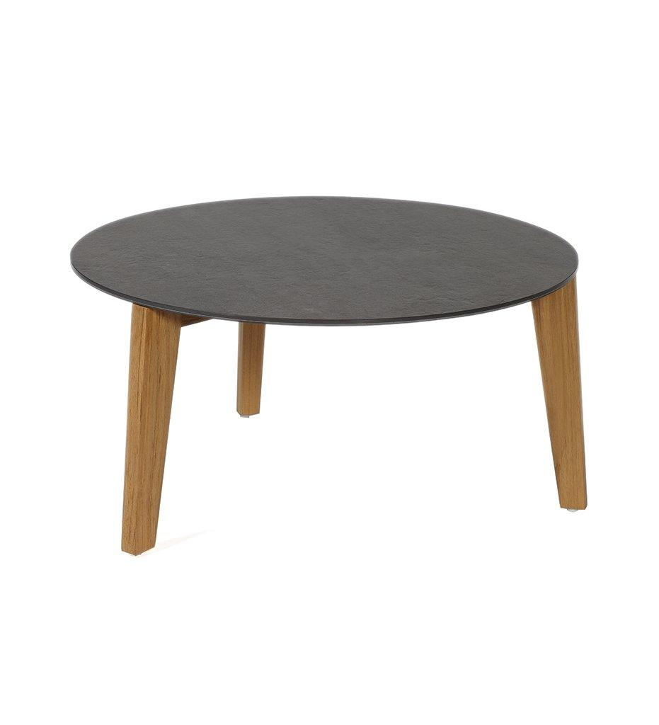 Oasiq Attol Round Large Outdoor Side Table with Anthracite Grey Ceramic Top and Teak Base