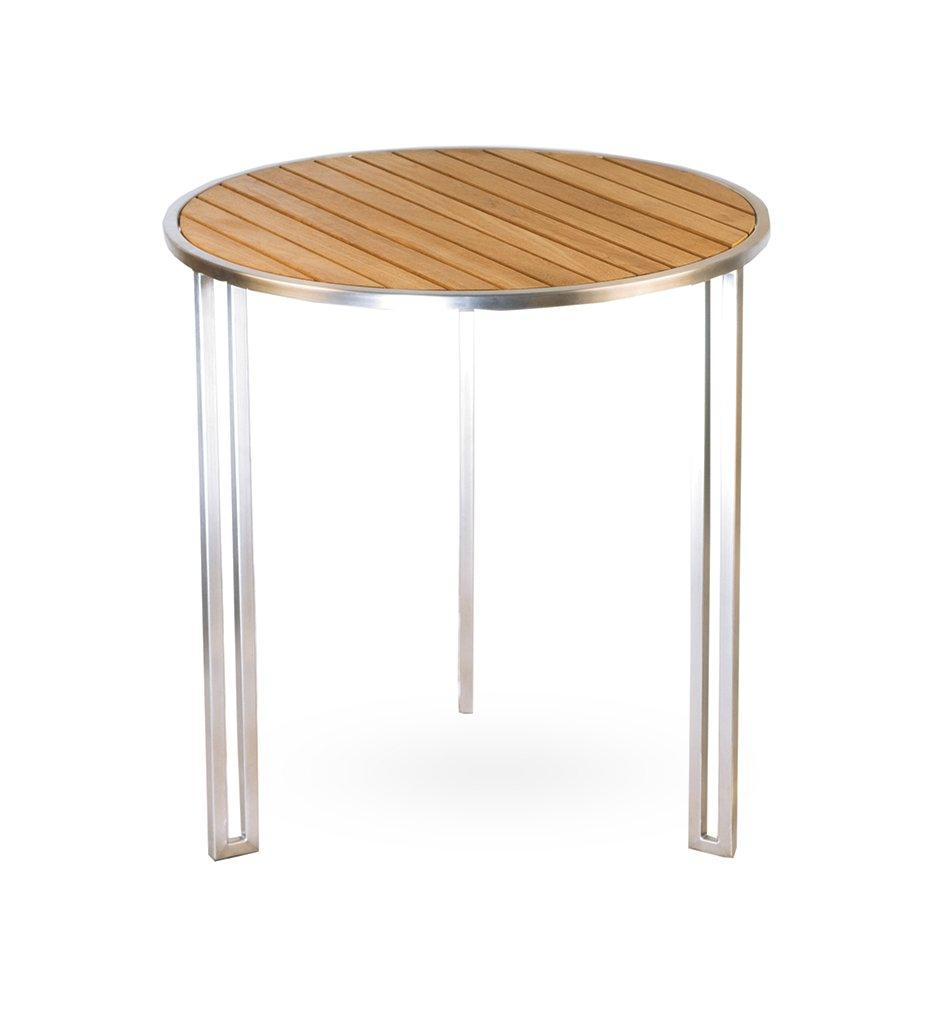 Oasiq | Grace Side Table | Stainless Steel with Teak Top | Outdoor