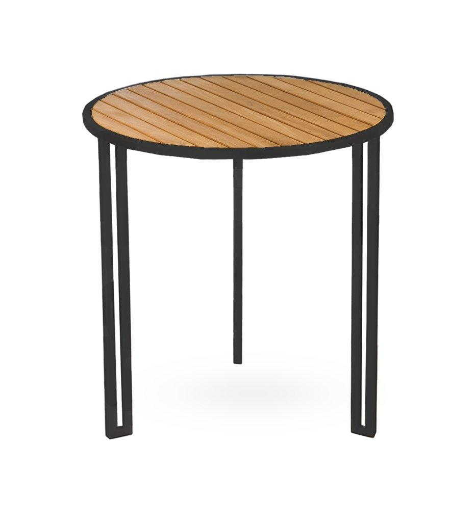 Oasiq | Grace Side Table | Black Anthracite Aluminum with Teak Top | Outdoor