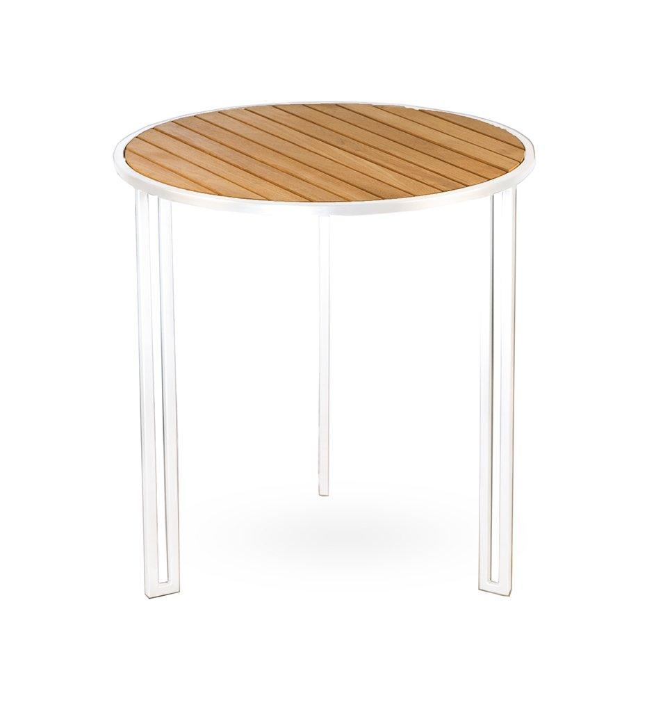 Oasiq | Grace Side Table | White Aluminum with Teak Top | Outdoor