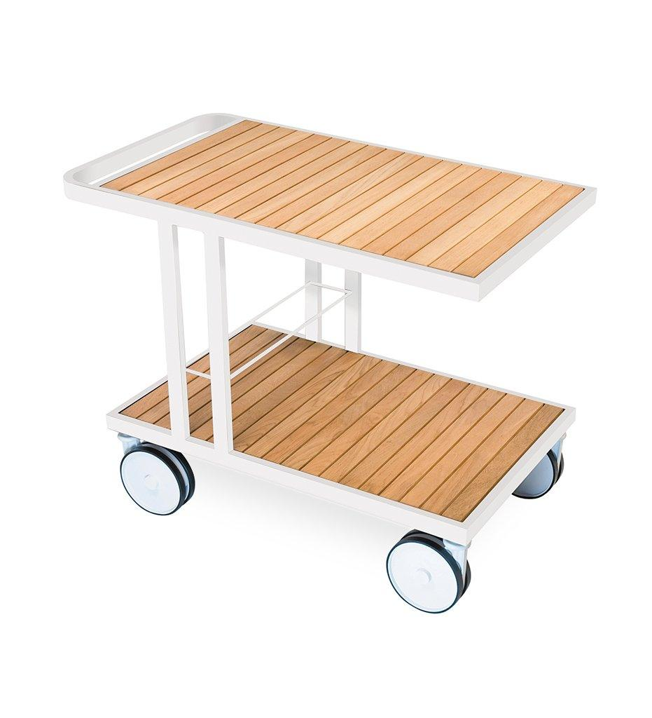 Oasiq | Grace Trolley | Smooth White Frame | Teak Top and Shelf | Outdoor
