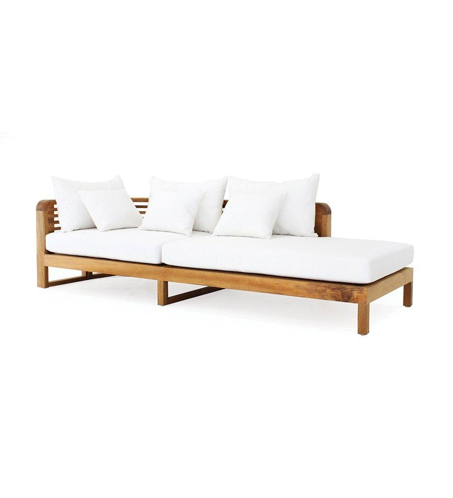 Oasiq , Hamilton Chaise Lounge - Arm Left - White Seat, Back and Pillow Cushions - Teak Frame, Outdoor
