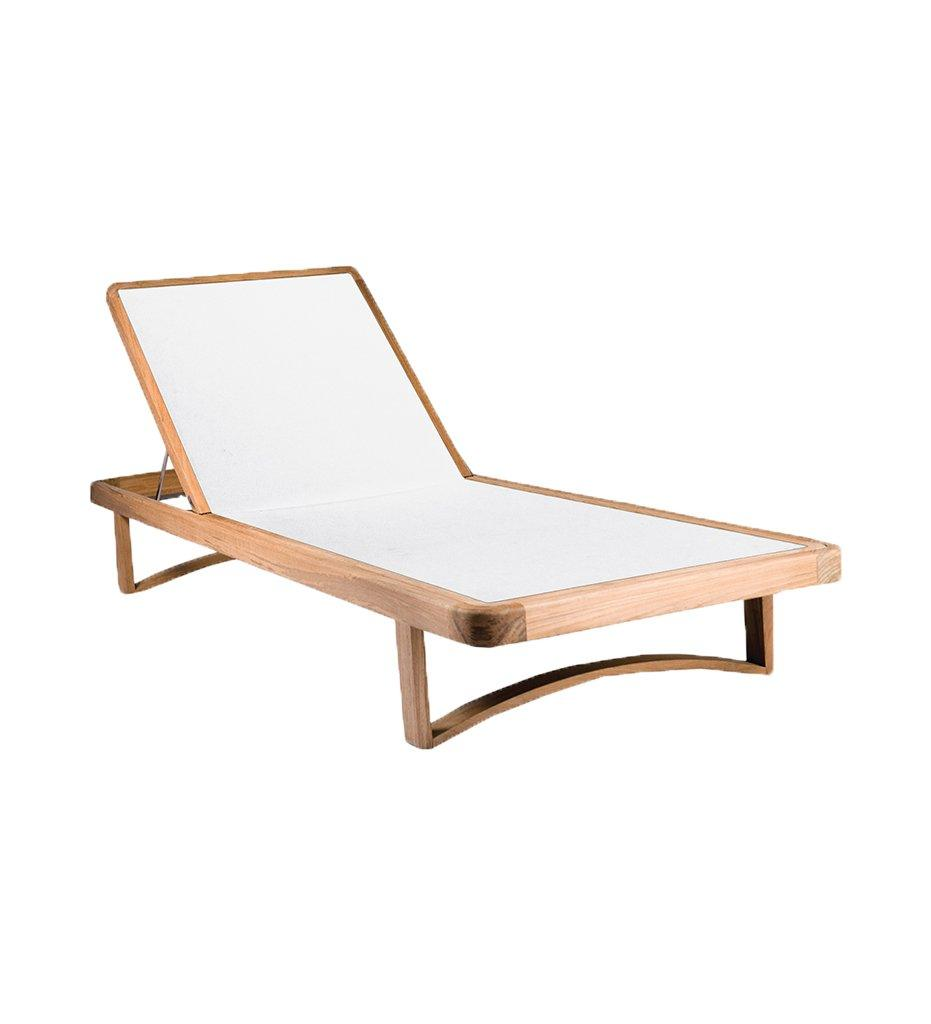 Oasiq | Outdoor | Limited 300 Chaise - Teak Base/White Polyester Mesh