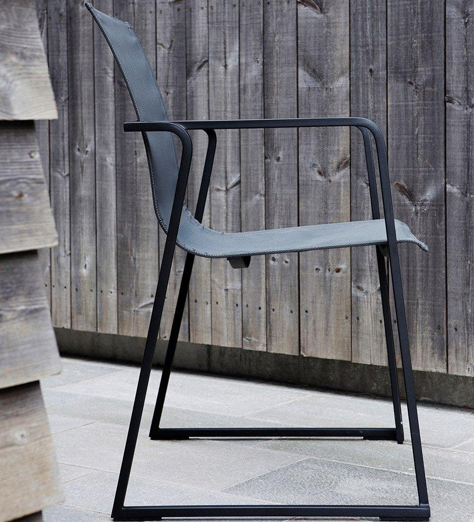 Oasiq | Outdoor | Muze Arm Chair | Powder Coated Anthracite | Mesh Sling Seat and Back - Anthracite