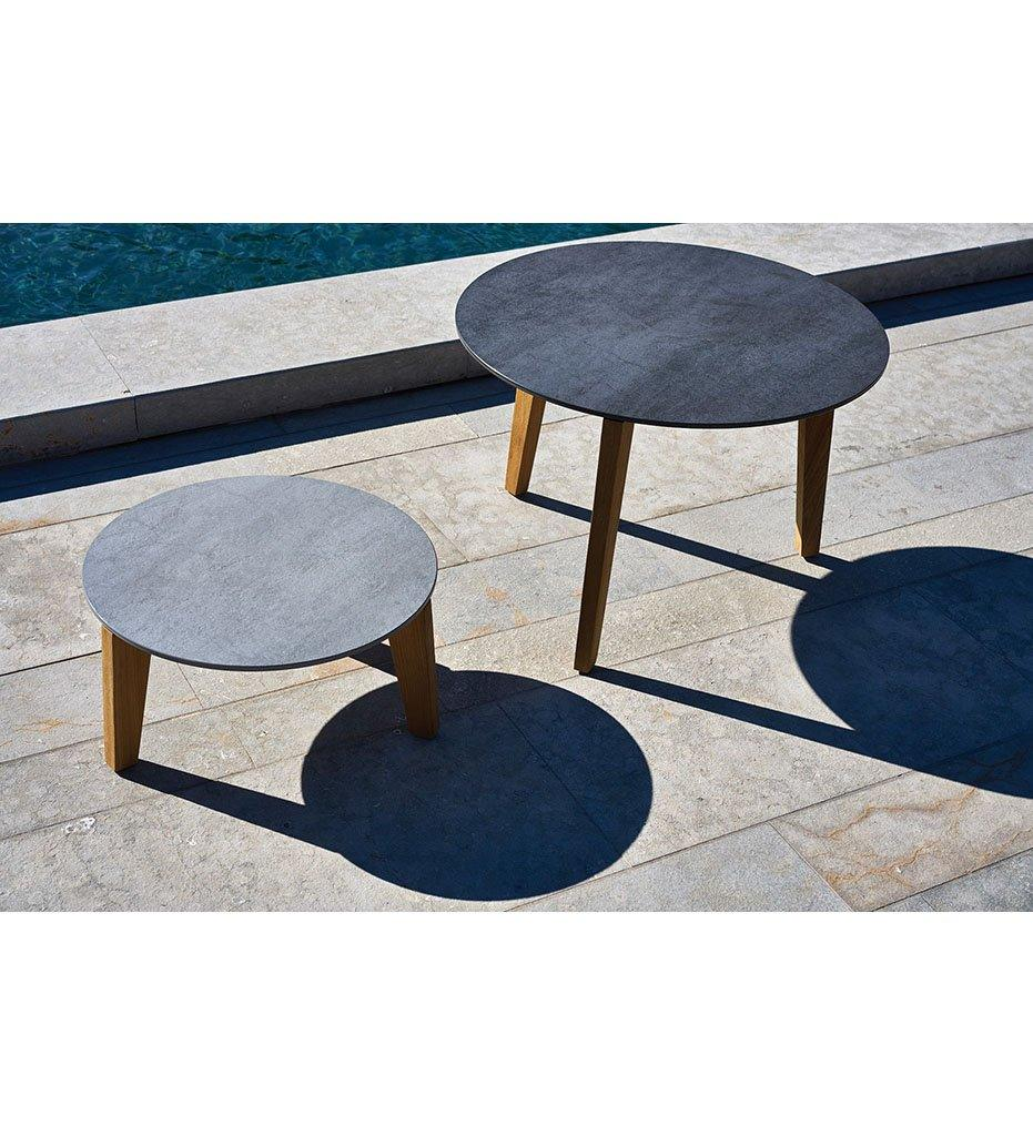 Oasiq Attol Small Round Outdoor Side Table with Grey Ceramic Top and Teak Frame