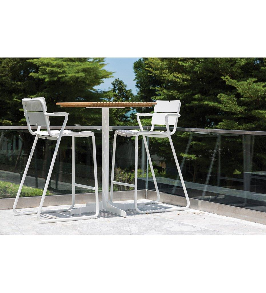 Ceru Bar Table | Anthracite Powder Coated Aluminum Frame | Teak Table Top | Oasiq | Outdoor