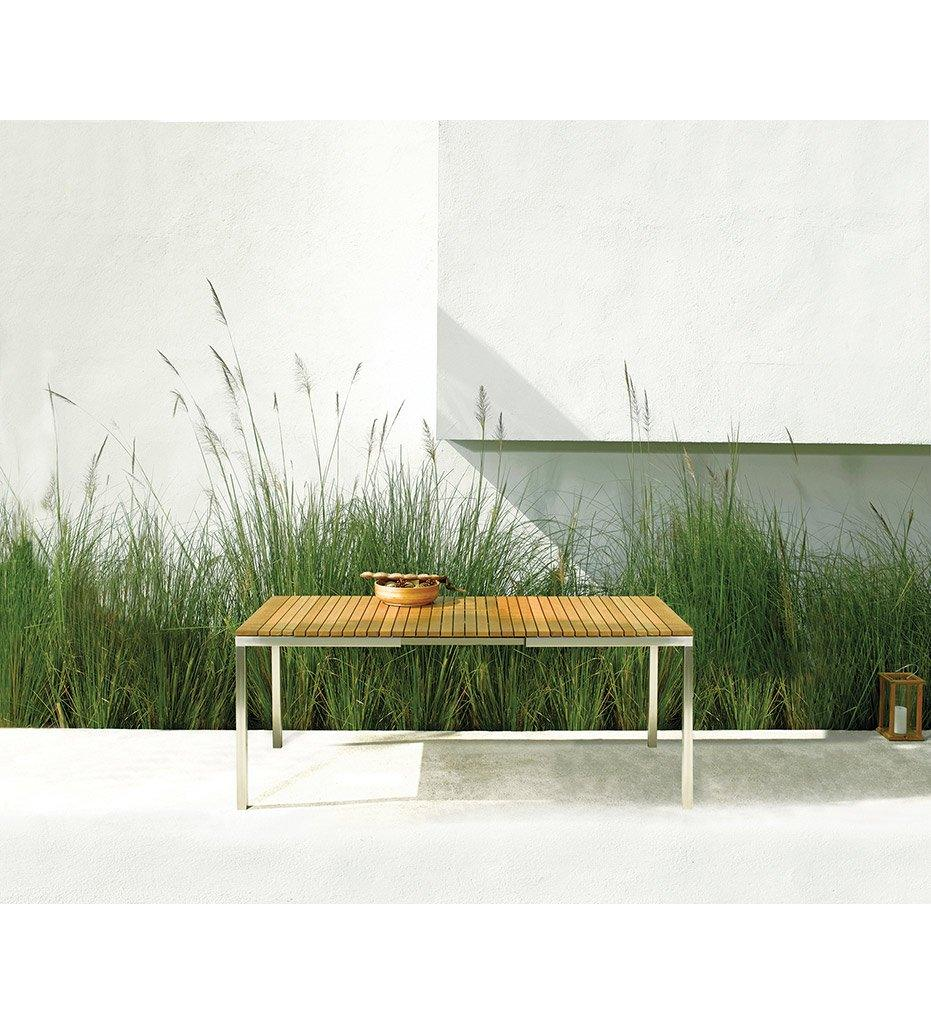 Oasiq | Grace Extendable Dining Table | White Aluminum Powder Coating with Teak Top | Outdoor