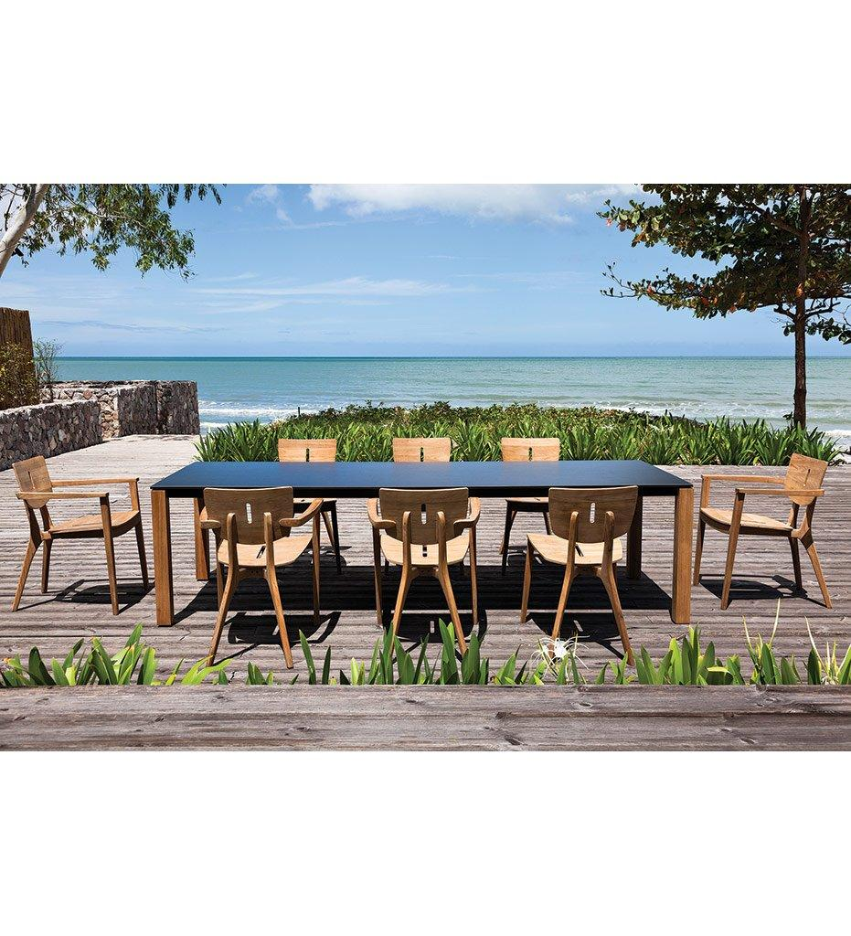 Oasiq, Machar Outdoor Dining Table, Anthracite Frame and Legs, Teak Top