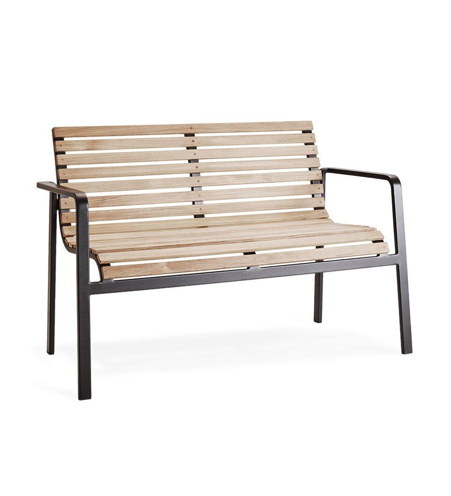Cane-line Cane-line Parch Outdoor Teak and Lava Grey Aluminum Bench 11561TAL