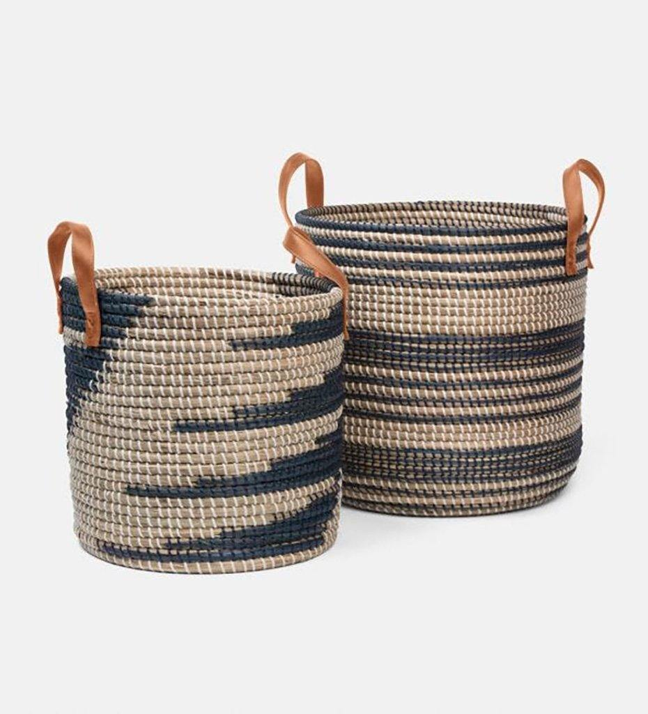 Pigeon and Poodle OLINDA nesting baskets Dark Blue Seagrass/Natural