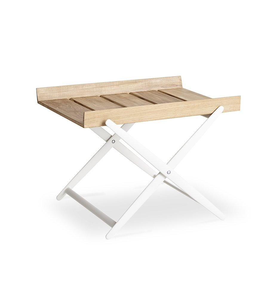 Cane-line Rail Outdoor Teak and White Aluminum Folding Table 5006TAW
