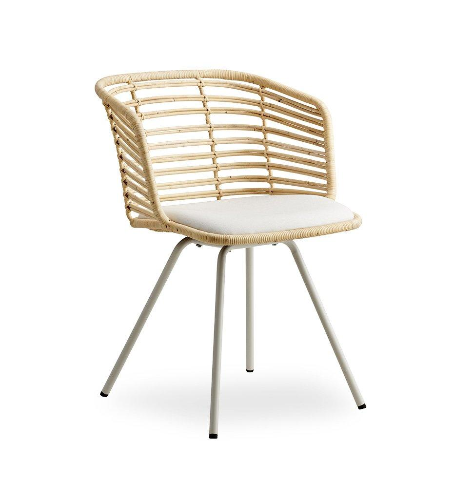 Cane-line Spin Chair in Natural Rattan with White Cushion 7434SWRU YSN94