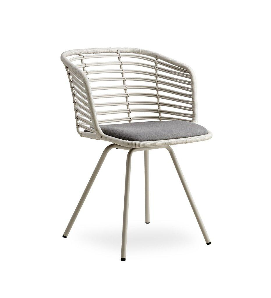 Cane-line Spin Chair in White Rattan with Light Grey Cushion 7434SWRW YSN96