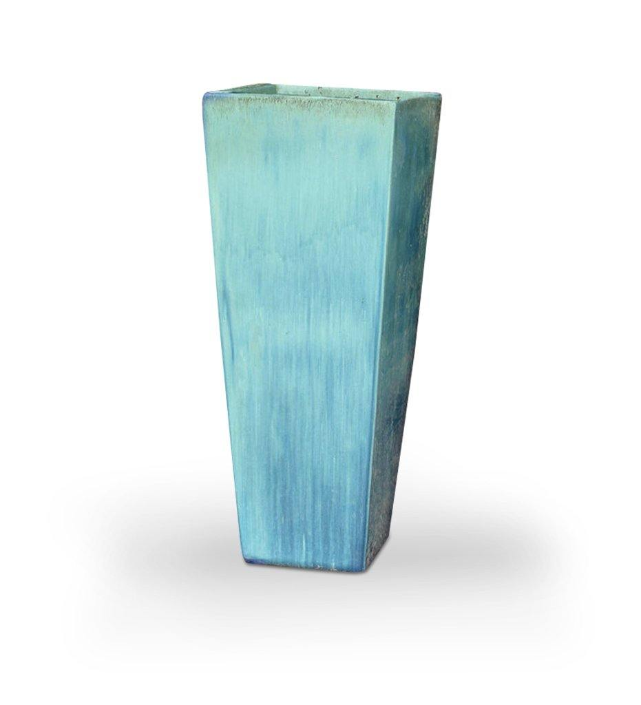 Asian Ceramics Aqua Extra Tall Square Planter